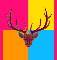 pop art engraving stylized deer on black vector image