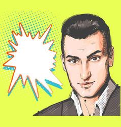 pop art man young handsome man portrait vector image