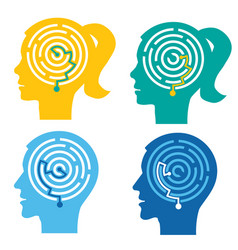 psychological test labyrinth in the heads vector image