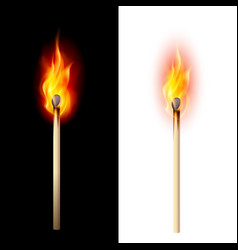 Realistic burning match on white and black vector