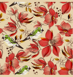 Red flowers seamless pattern and cute birds print vector