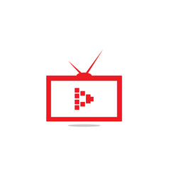 red outline tv with play symbol on screen vector image