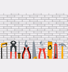 repair tools and instruments on brick wall vector image