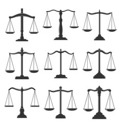 Scales justice law and notary lawyer legal icons vector