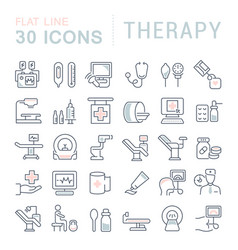Set line icons therapy vector