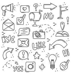 set of line icons social networks internet modern vector image