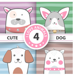 set pretty dog cartoon characters vector image