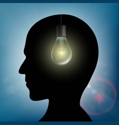 Silhouette of human head with light bulb inside vector