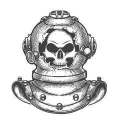 Skull in broken diving helmet vector