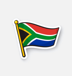 Sticker flag south africa vector