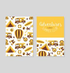 summer adventures club card template flyer vector image