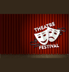Theatre festival stage with red velvet curtain vector