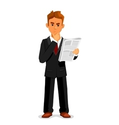 Thoughtful businessman is reading newspaper vector image