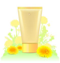 tube for cosmetics template yellow dandelion vector image