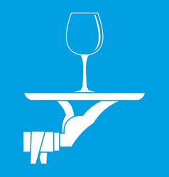 waiter hand holding tray with wine glass icon vector image