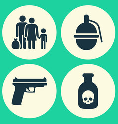 Warfare icons set collection of danger bombshell vector