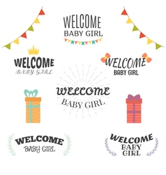 Welcome baby girl Baby girl arrival postcards Baby vector
