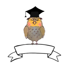 Wise owl in graduate cap and ribbon banner vector