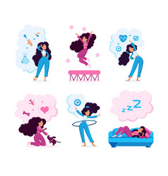 woman daily life routine characters set vector image