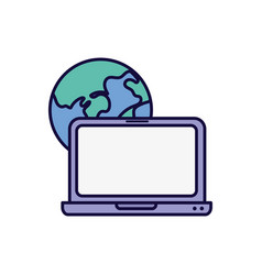 World laptop device technology learning online vector