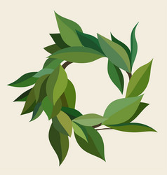 wreath green leaves in different shades vector image