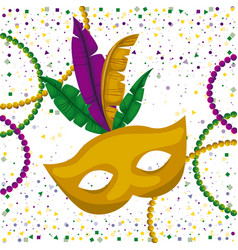 yellow carnival mask and colorful feathers vector image