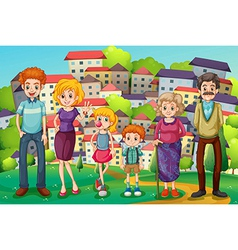 A hilltop with a big family vector image vector image