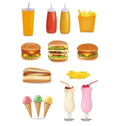 big group of fastfood product vector image vector image