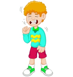 Little boy cartoon having flu vector image