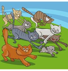 Running cats cartoon vector