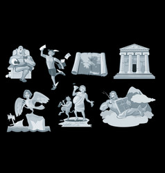 set ancient greek god in the present world vector image