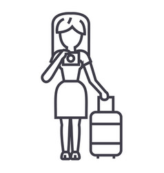 travel woman making photo line icon sign vector image vector image