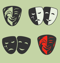 festive masks silhouette in black on a color vector image