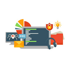 monitor with hacked data base and tablet screen vector image vector image