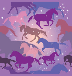 seamless pattern with horses on purple background vector image