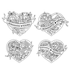 set of four hand-drawn doodles hearts vector image vector image