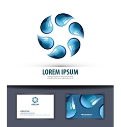 Water logo icon emblem template business card vector