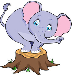 cartoon cute baby elephant terrified on tree stump vector image