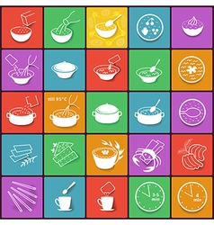 Flat fast food packaging cooking process icons set vector image