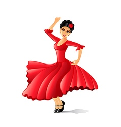 Girl dancing flamenco isolated on white vector image