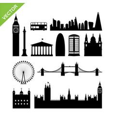 london england landmark silhouettes vector image