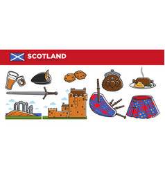 scotland travel destination promotional banner vector image vector image