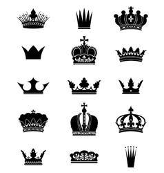 Set of 15 crowns vector image