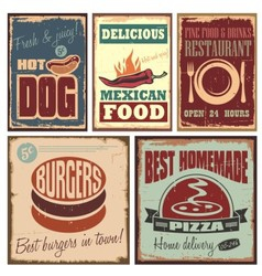 Vintage style tin signs and retro posters vector image vector image