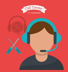 call center man operator technical help vector image vector image