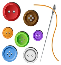 Clothes button set with needle vector image vector image