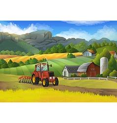Farm rural landscape background vector image vector image