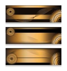 Golden headers set in three choice vector image vector image