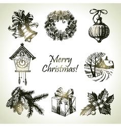 Hand drawn christmas set vector image vector image