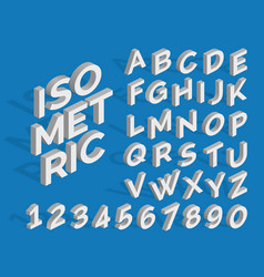 isometric alphabet and numbers funky 3d vector image